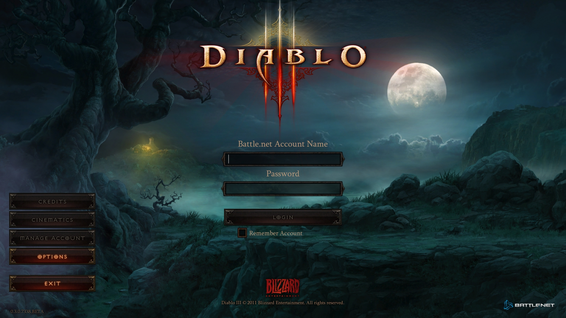 Diablo 3 Logon Screen